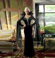 Wholesale Disfraz Sexy - Disfraz Mujer Sexy Black Vampire Long Dress Halloween Costumes For Women Sexy Cosplay Witch Queen Costumes Erotic Costumes