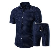 мужская рубашка размера xs оптовых-Wholesale-Men Shirts+Shorts Set 2016 New Summer Casual Printed Hawaiian Shirt Homme Short Male Printing Dress Suit Sets Plus Size