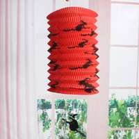 Wholesale decorative lamp pipe resale online - New Halloween Telescopic straight pipe organ lamp color bat witch design paper lantern