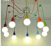 modern kumaş sarkıt ışıkları toptan satış-Modern Kolye Işıkları 13 Renkler DIY Aydınlatma Çok renkli Silikon E27 Ampul Tutucu Lambaları Ev Dekorasyon 4-12 Arms Kumaş Kablo