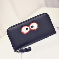 2017 Nouveau Kawaii Cute Cartoon Big Eyes Design Femmes Portefeuilles longues Wraparound Zipper Tassel Lady \ 's Clutch Phone Bags Coin Purse