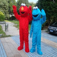 Wholesale Mascot Costumes Halloween Sesame Street - Sesame Street Blue Cookie Monster Mascot blue Elmo costume Fancy Dress Adult size Halloween free shipping