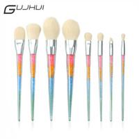 Wholesale Acrylic Hair Brushes - Gujhui 8pcs Acrylic Makeup Brushes Set Cosmetic Face Powder Eyeshadow Base Foundation Blush Contour Make Up Brushes Maquiagem