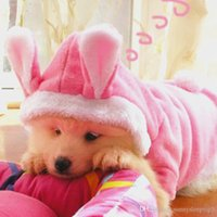 Wholesale Clothes Coats For Rabbits - 2016 New Cute Pet Cat Clothes Easter Bunny Costume Cat Dog Hoodie Coat Fleece Warm Rabbit Dressing Up Outfit Clothing for Cats 4