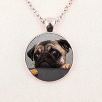 Wholesale Christmas Art Pictures - Wholesale Glass Dome Pendant Animals Jewelry Pug Necklace Pendant Glass Art Picture Necklace
