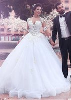 Wholesale Tulle Gowns For Sale - Sheer Neck Long Sleeve Lace Ball Gown Wedding Dresses Bridal Gown With Ribbon Hem Dropped Waist Tulle Wedding Gowns For Sale