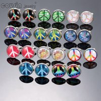 Wholesale New Arrivals Mixed Pattern Peace symbol Silver Plated Cufflinks for men and women mm glass Cufflinks for mens