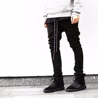 Wholesale Open Leg Pants - Streetwear Harem Pants Men Draw String Elastic Waist Hip Hop Pants Leg Opening Zipper Male Trousers kanye justin bieber pants