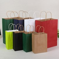 Wholesale boutiques paper bags - 21*11*27cm Kraft Paper Bag With Handle Festival Gift Wrap Package Party Gift Boutique Garment Shopping Bags ZA4377