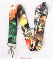 Wholesale Japanese Fashion Wholesale Free Shipping - Hot Free Shipping 20 pcs fashion Japanese Anime Attack on Titan Mobile Phone Neck Straps Neck Strap Keys Camera ID Card Lanyard