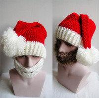 Wholesale Santa Clause Christmas Decoration - Cap Cosplay Hat Santa Clause White Brown Beard Face Accessory Merry Christmas Hat For Xmas Party Decoration Christmas Gift Free Shipping