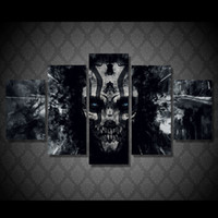 Wholesale painting kwan yin resale online - 5 Set No Framed HD Printed Dark painted skull Painting Canvas Print room decor print poster picture canvas kwan yin oil painting