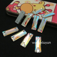 Wholesale Crystal Rhinestone Baguettes - 5x15mm 6x18mm 7x21mm 8x24mm 9x27mm Baguette Sew On Crystal AB Color 27x9mm Rectangle Flatback Sewing Rhinestone 2 holes