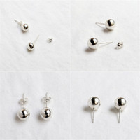 Wholesale 3mm 925 Earrings - 3MM 4MM 5MM 6MM 8MM 10MM Stud Earring For Women 925 Sterling Silver Round Beads Earrings Simple Style Sterling-Silver-Jewelry