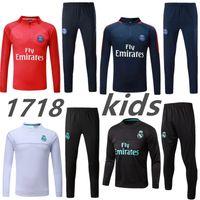 Wholesale Kids Long Jackets - 2017 kids Real Madrid survetement football tracksuits 2018 Ronaldo Verratti Long pants wear Paris Neymar JR kids training suit jacket kit