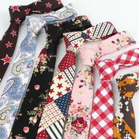 Wholesale Plain Skinny Ties - Cotton & Linen neckties 145*5cm floral neck tie 43 Colors Occupational Necktie Men's Tie for Father's Day Men's business tie