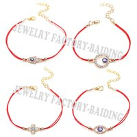 Al por mayor-2016 Nueva Sideway Cross Karma Hamsa Evil Eye 4 Modelos Blue Eye Lucky Red String Gifts Pulseras