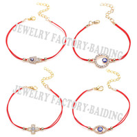 Wholesale Cross Evil Eye Bracelets - Wholesale-2016 New Sideway Cross Karma Hamsa Evil Eye 4 Models Blue Eye Lucky Red String Gifts Bracelets