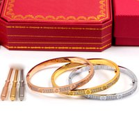 Wholesale H Cuff Bracelet - Top quality 2 low CZ diamond Love Screw bangle H Bracelet Women and Men cuff cater love 5mm bracelet Pulseira Feminina Masculin Fine Jewelry