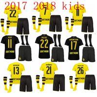 Wholesale Dortmund Soccer - Thailand quality 2017 2018 Kids + socks Dortmund soccer jerseys 17 18 youth AUBAMEYANG GOTZE MOR REUS home away football jersey SAHIN child