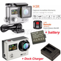 Wholesale sport camera batteries resale online - 2pcs Battery Dock Charger EKEN H3R Ultra K Action Camera Dual Screen G Remote Control M waterproof Degree lens Sports Helmet DV