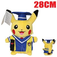 Wholesale Sale Children Cloths - Hot Sale Dr. Graduation Pikachu Plush Toys Doll For Children Xmas Kids Gifts 28 cm Cartoon Birthday Gifts Wholesale Free Shipping