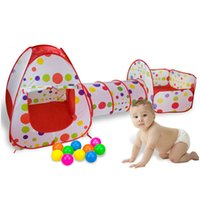 3 in 1 Indoor Kinderspielzelte Fechten für Kinder für Baby-Jungen-Mädchen-Pipeline Crawling Huge Tunnel Toy House Ball Pool VE0070