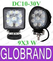 "Wholesale Led Spotlights 4x4 Wholesales - 12V 24V 4"" 4inch 27W Spotlight Floodlight car Tractor Truck SUV boat 4X4 4WD Jeep Offroad driving LED work light bulbs bar GLO416"