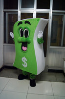 Wholesale Green Adult Mascot Costume - high quality Real Pictures Deluxe Dollar bills mascot costume US dollars mascot costume Adult Size factory direct free shipping