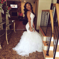 Wholesale Custom Made New Sexy African White Organza Mermaid Style Prom Dresses Deep V Neck Ruffles Sweep Train Long Evening Gowns