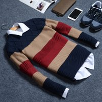 Wholesale Sweater Round Neck - Wholesale-Brand Clothing 2016 Autumn And Winter Men'S Round Neck Sweater Hedging Thick British Style Sweater Men M-2XL A99