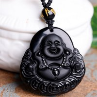 Wholesale Chinese Carving Beads - 100% Natural Obsidian Black Jade Agate Pendant Chinese guan y100% Natural Obsidian Hand Carved Coin Buddha Lucky Pendant Free beads u Amulet