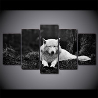 Wholesale Black White Painting Set - 5 Pcs Set Wolf Stare Black And White Canvas Paintings Home Decor Wall Art Framed Posters HD Prints Pictures Painting