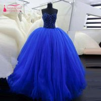 Royal Blue Ballkleid Prom Kleider bling bling Perlen Tulle Party Kleider trägerlosen eleganten Quinceanera Kleider Lace Up