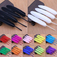 Wholesale Goose Hat Wholesale - 50pcs Goose Feather Christmas wedding costumes hat earrings Wedding flowers decorative materials Feather 4 - 6inch
