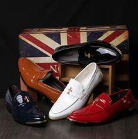 Wholesale Bright Color Shoes - Fashion Men's Business shoes Bright Leather Mens Wedding Shoes Big Size Men Within the higher Shoes Unique men Dress Shoes 5 color