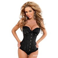 Wholesale Black Satin Overbust Boned Corset - Wholesale-Satin Boned Steampunk Corset for Women Sexy Corsets and Bustiers Lace Up Bustier Corset Bodice Women Overbust Corselet Corset