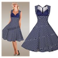 Wholesale Print Audrey - 50S 60S Audrey Hepburn Dress 2016 Summer Polka Dot Printed Rockabilly Big Swing Dresses Vintage Sleeveless V Neck Midi Dress