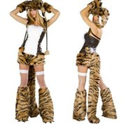 Wholesale Halloween Costume Woman Tiger - Halloween Animal Costumes Feathers Leopard Fur Tiger Cat Ladies Women COSPLAY Nightclub DS Clothes Role Play Animal Christmas Costumes