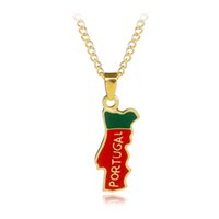 Wholesale red map - Portugal map enamel Necklaces Pendants map of Portugal red green necklace women gift for Geography Teacher Student Portuguese