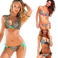Wholesale Swimwear Woman Zebra - PrettyBaby 2016 Push up Bikini for women Fashion Sexy New Swimwear Leopard and Zebra Print bikinis set Sexy Swimsuits