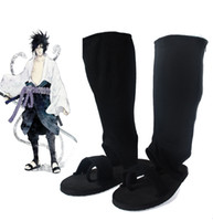 Wholesale Naruto Ninjas - Wholesale-Free Shipping Naruto Shippuden Sasuke Uchiha Adult Black Ninja Shoes Anime Cosplay Accessory