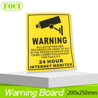 Wholesale Security Signs Warning - 10Pcs 200*250MM Decal Sticker Warning Board 24HR CCTV Camera Security Camera Sticker Warning Decal Signs