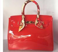 ingrosso borsa di caramella di gelatina-Borsa da spiaggia estiva di moda di lusso di alta qualità sacchetto di colore della caramella della gelatina donne tote borsa della borsa della serratura casuale borse bolsas ufficio