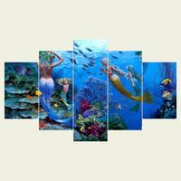 ingrosso pittura ad olio astratta di arte astratta-(Nessuna cornice) Animali marini due serie HD Tela stampa 5 pannello Wall Art Oil Painting Texture astratta Immagini Decor Living Room Decoration