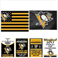 Wholesale Wholesale Soccer Flags - Pittsburgh Penguins 2017 Stanley Cup Champions Flag 3x5 ft US Flag Star and Stripe Flag Banner Polyester Hockey Football Banners 90x150cm