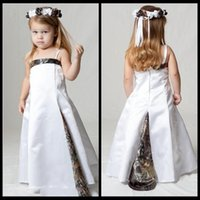 Wholesale White Christmas Tree Lights Cheap - White Satin A Line Camo Flower Girls Dresses Sweep Train Formal Real Tree Kids Formal Wear Cheap Custom Made Pageant Toddler Party Gowns