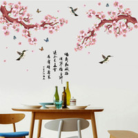 Wholesale flying birds art - Pink Peach Flowers Tree Branch Flying Birds Butterfly Chinese Poet Wall Stickers Living Room Bedroom Room Wall Decor Wallpaper Poster
