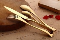 Wholesale Hotel restaurant home tableware gold plated stainless steel knife fork spoon four piece set