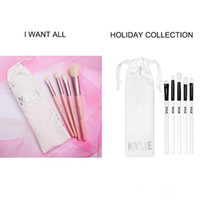 Wholesale Pink Cosmetic Makeup Brushes - Kylie Brush Set Kylie Limited Edition Holiday Collection brushes set 5pcs Kylie Cosmetic Makeup brush I WANT IT ALL 20th Birthday 4pcs brush